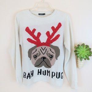 Boohoo Bah Hum Pug Reindeer Sweater S/M